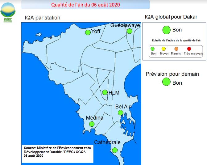 Indice de la qualité de l'air – Dakar pointe au vert ce jeudi et demain vendredi
